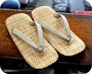 パナマ表草履に白土色革花緒