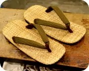 パナマ表草履に縦縞柄花緒