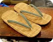 パナマ表草履に縞柄革花緒