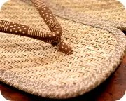 パナマ表草履に変わり市松柄印伝丸花緒 前壷