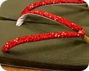 倉敷帆布草履にクローバー柄印伝花緒 花緒