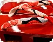 本朱芳町に蛇の目傘柄花緒 花緒