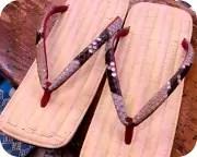 籐表雪駄に赤裏ニシキヘビ革花緒