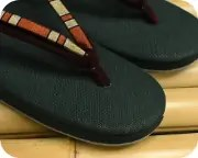 帆布草履に横縞柄二石花緒 前壷