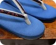 帆布草履にクローバ―柄印伝福林花緒 前壷