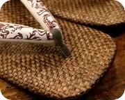 茶パナマ草履に鳥獣戯画柄花緒 前壷
