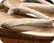 1の3枚芯本革草履に花柄ぼかし福林花緒 花緒