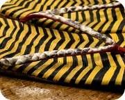 縞表雪駄にニシキヘビ革花緒 花緒