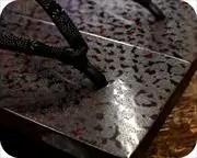 紋紗塗り真角に爪唐草柄印伝花緒 前壷