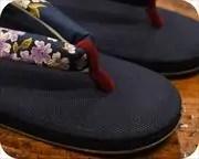 帆布草履に花柄花緒 前壷