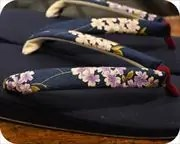 帆布草履に花柄花緒 花緒