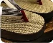 シコロ織舟形に竹節縞柄福林花緒 前壷