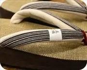 シコロ織舟形に竹節縞柄福林花緒 花緒