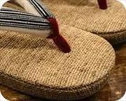 麻織草履に竹節縞柄福林花緒 前壷