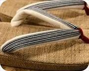 麻織草履に竹節縞柄福林花緒 花緒