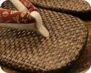 茶パナマ草履に宝尽し柄福林花緒 前壷