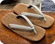 茶パナマ草履に編み目柄花緒