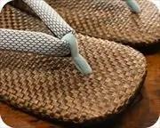 茶パナマ草履に編み目柄花緒 前壷