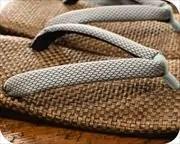 茶パナマ草履に編み目柄花緒 花緒