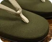 帆布草履に市松柄印伝花緒 前壷