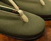 帆布草履にクローバー柄印伝福林花緒 前壷