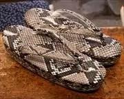 ニシキヘビ革丸草履