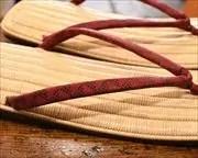 生成籐表雪駄に鱗柄印伝丸花緒 前壷