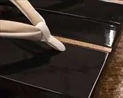 胡麻竹ライン張り真角にタピール二石花緒 前壷