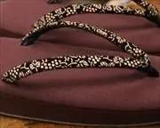 帆布草履に葡萄柄印伝花緒 花緒