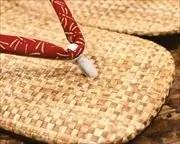 パナマ市松草履に蜻蛉柄印伝花緒 前壷