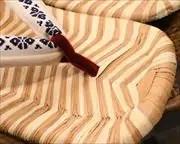 縞表雪駄に博多織福林花緒 前壷
