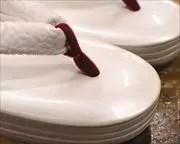3分3枚本革草履に罠ビロード花緒 前壷
