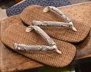 茶パナマ草履に蛇柄合皮花緒