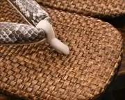 茶パナマ草履に蛇柄合皮花緒 前壷