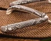茶パナマ草履に蛇柄合皮花緒 花緒