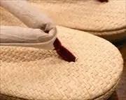 パナマ草履に近江織麻布花緒 前壷