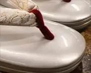 2の3枚芯本革草履にジャガード織花緒 前壷