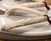 2の3枚芯本革草履にジャガード織花緒 花緒