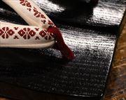 捌き三味舟形に博多織福林花緒 前壷