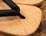 籐網代草履に黒桟革花緒 前壷