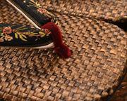 茶パナマ草履にリボン花緒 前壷