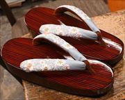 糸春雨舟形に刺繍花柄花緒