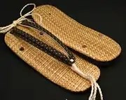 パナマ市松草履に瓢箪柄印伝花緒