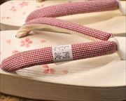 桜柄入り加工舟形にしじら織花緒 花緒