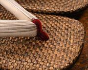 茶パナマ草履に小千谷縮福林花緒 前壷