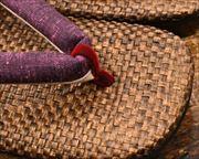 茶パナマ草履に遠州綿紬花緒 前壷
