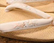 パナマ草履に金魚柄刺繍花緒 花緒