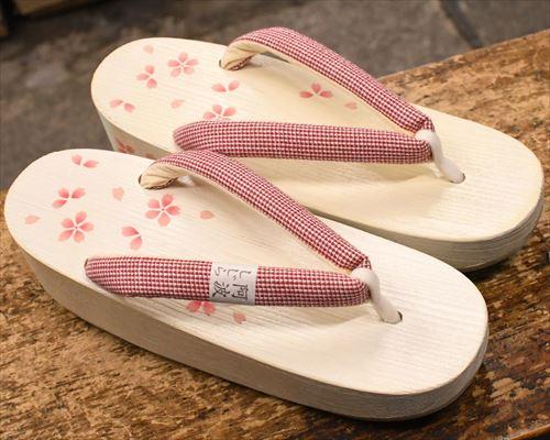 桜柄入り加工舟形にしじら織花緒